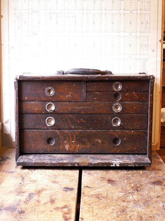 Vintage Union Tool Chest   Wood Machinistu0027s Chest With Six Drawers From  Copper And Tin