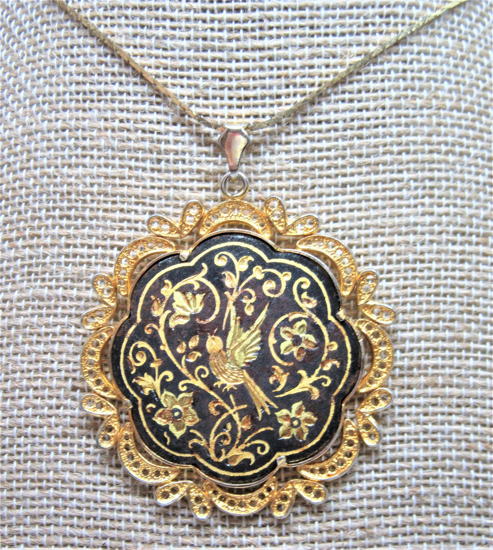 Black /& Gold Locket Pendant Vintage Damascene Locket Necklace