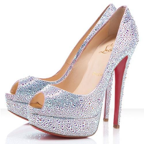Christian Louboutin Lady Peep Strass 140mm Peep Toe Pumps Aurora Boreale