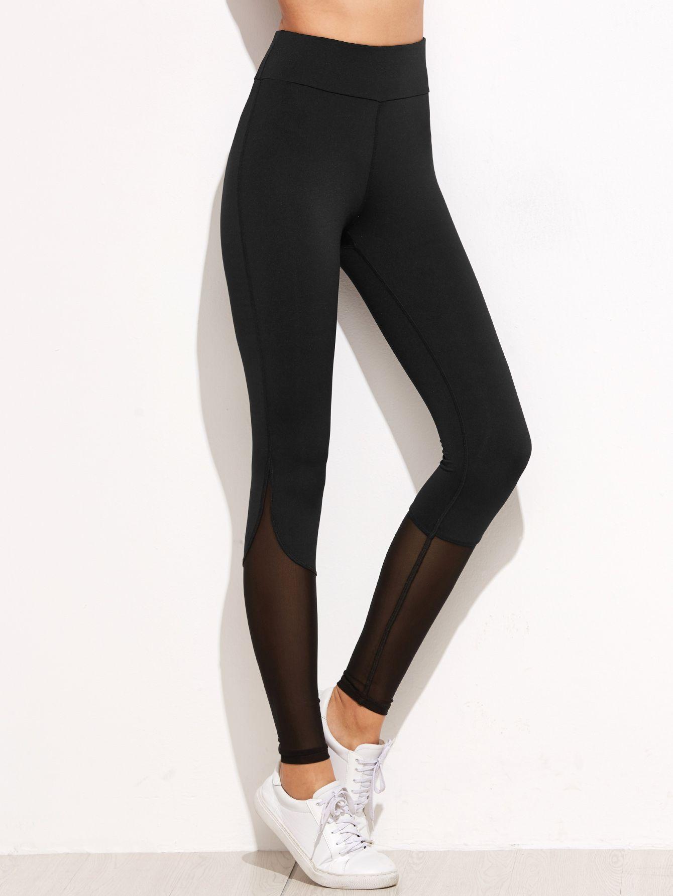 6655fefdd1d428 Shop Black Contrast Mesh Leggings online. SheIn offers Black Contrast Mesh  Leggings & more to fit your fashionable needs.