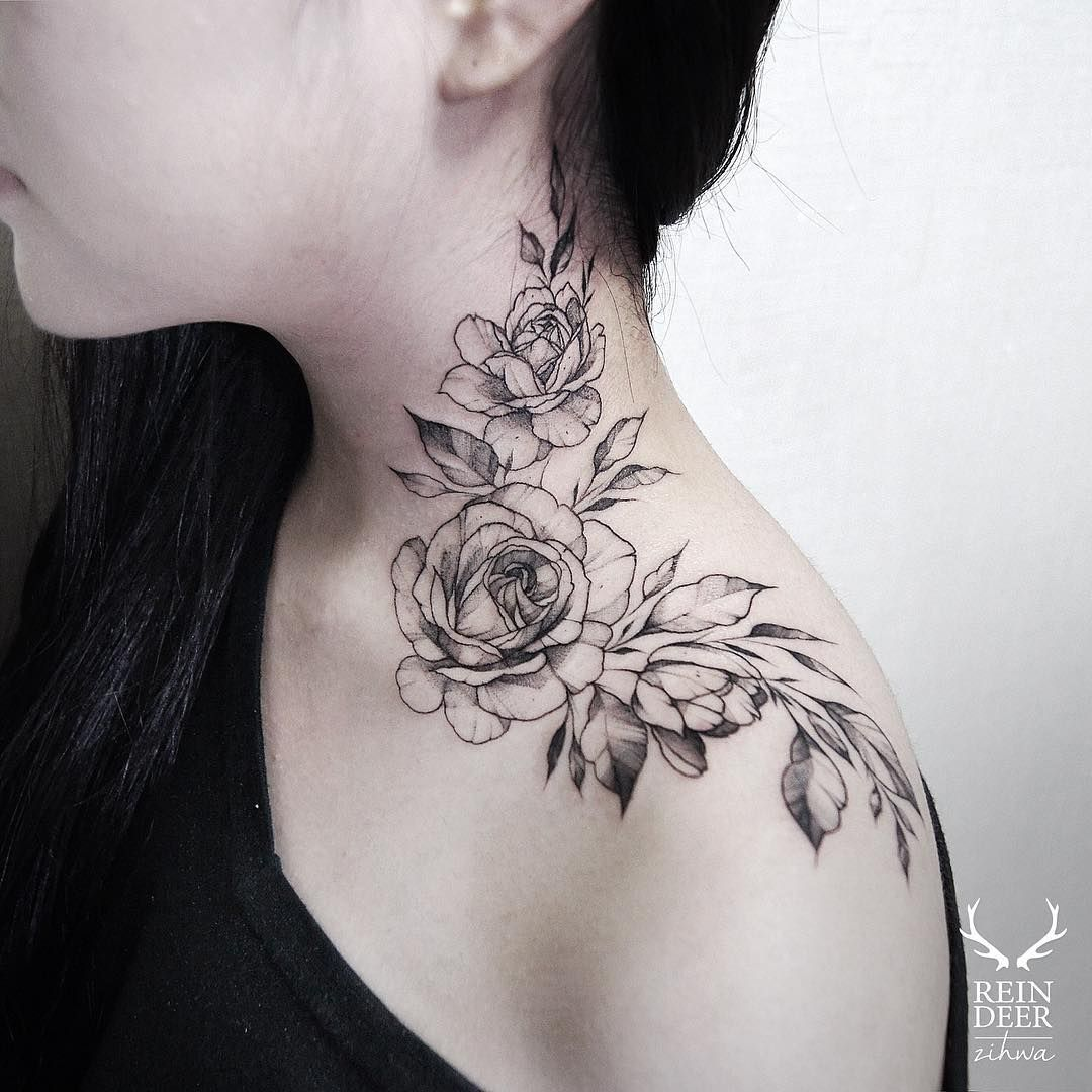 72233ecff The Rose Neck Tattoo by Kat Abdy is soft and an ideal girl tattoo design.  The placement is also perfect.