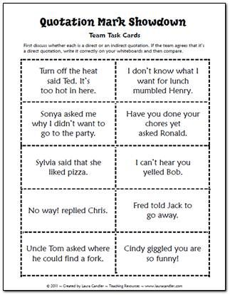 quotation mark showdown task cards free in laura candlers language arts file cabinet
