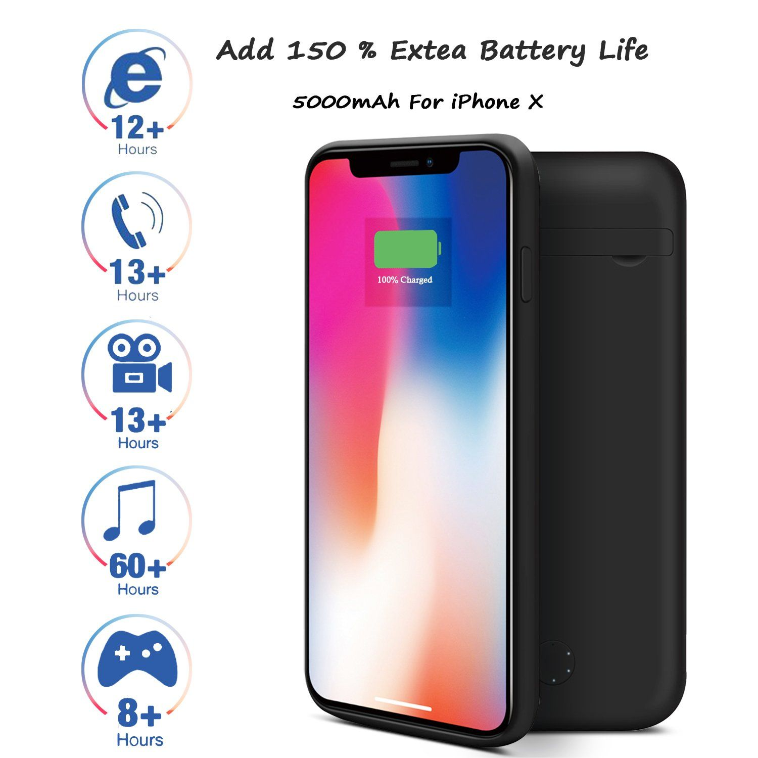iPhone X Battery CaseBELK 5000mAh Rechargeable Extended