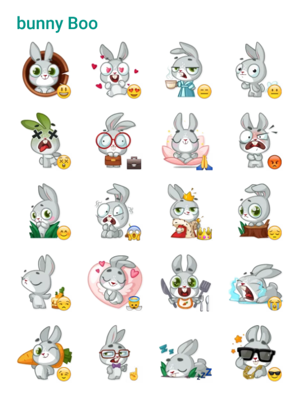 Bunny boo sticker pack telegram stickers