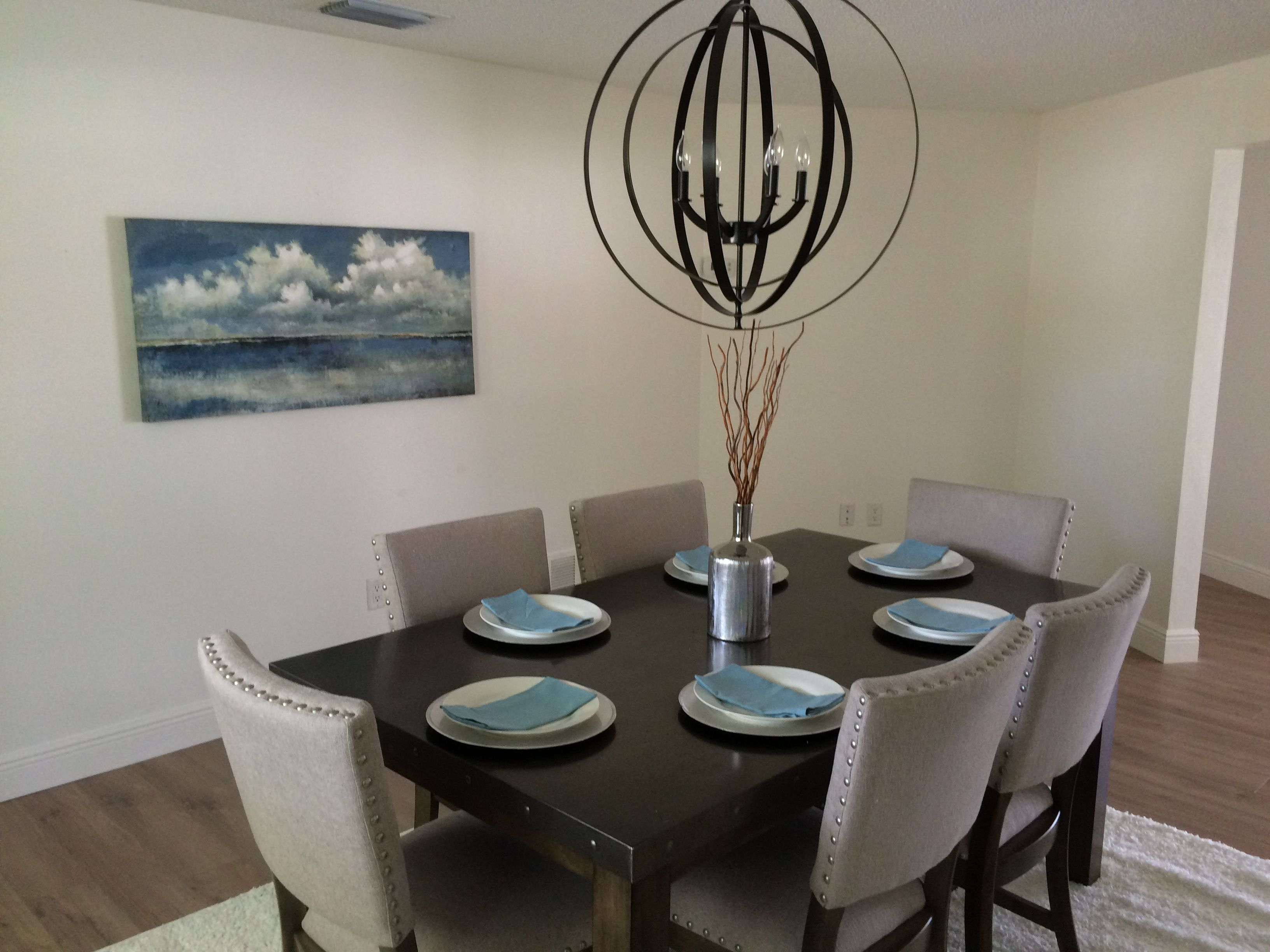 Simple Tasteful Staged Dining Room Again Using Pop Of Color With Blue Plates And Paintings Yet Still Let S Buyers S Home Staging Tips Home Decor Home Staging