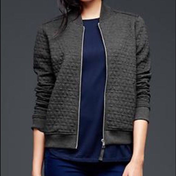 New Gap Quilted Bomber Jacket New With Tags Charcoal Grey Quilted