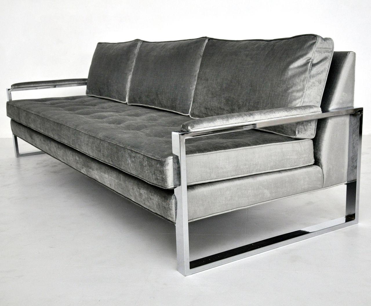 Milo Baughman Chromed Metal Frame Sofa 1960s Sofa Frame Sofa
