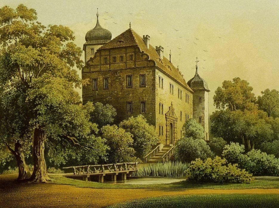 FRIEDENSDORF ( Leuna) - Rittergut Kriegsdorf - Duncker - Farblithographie 1863