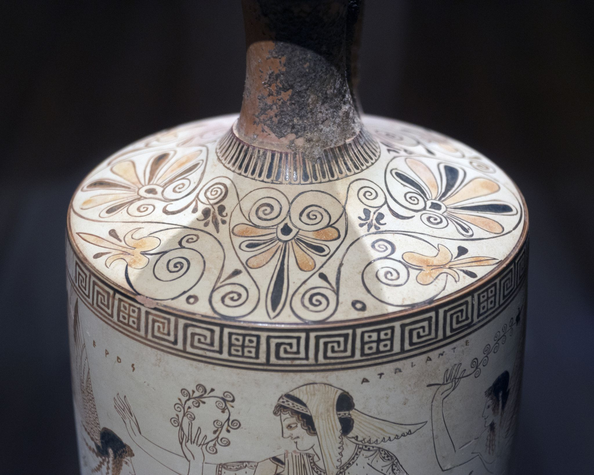 Attic White Ground Lekythos With Labeled Figures Atalante And Eros Attributed To The Athenian Vase Painter Ancient Greek Pottery Greek Art Ancient Greek Art
