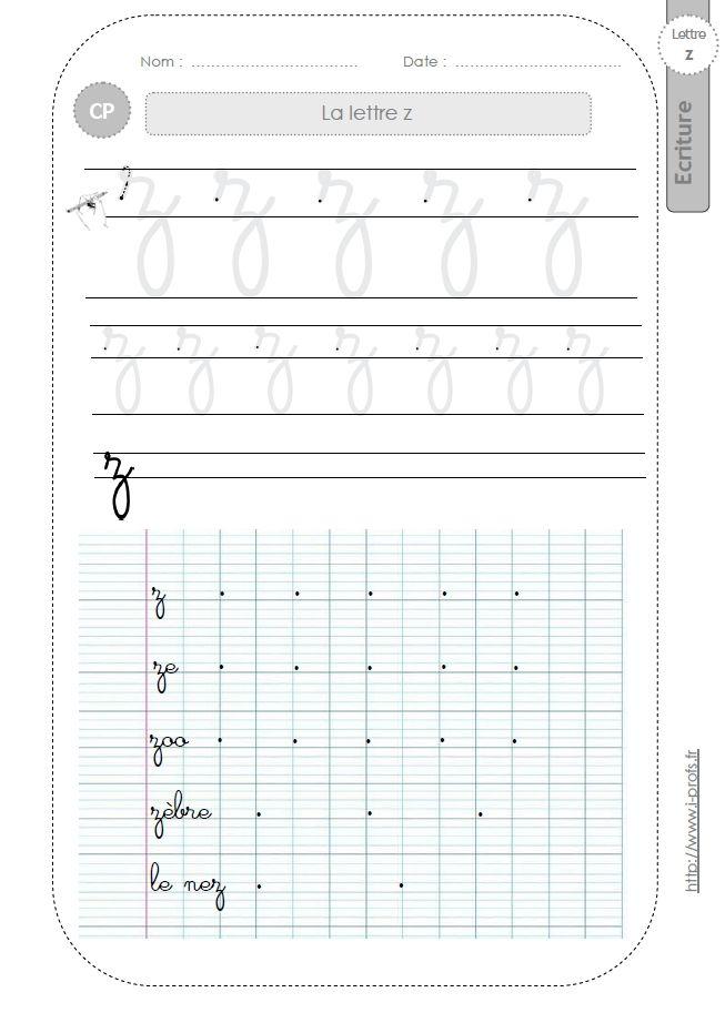 Célèbre la lettre z au CP:FICHES d'ECRITURE. Modèles d'écriture | ecriture  AK61