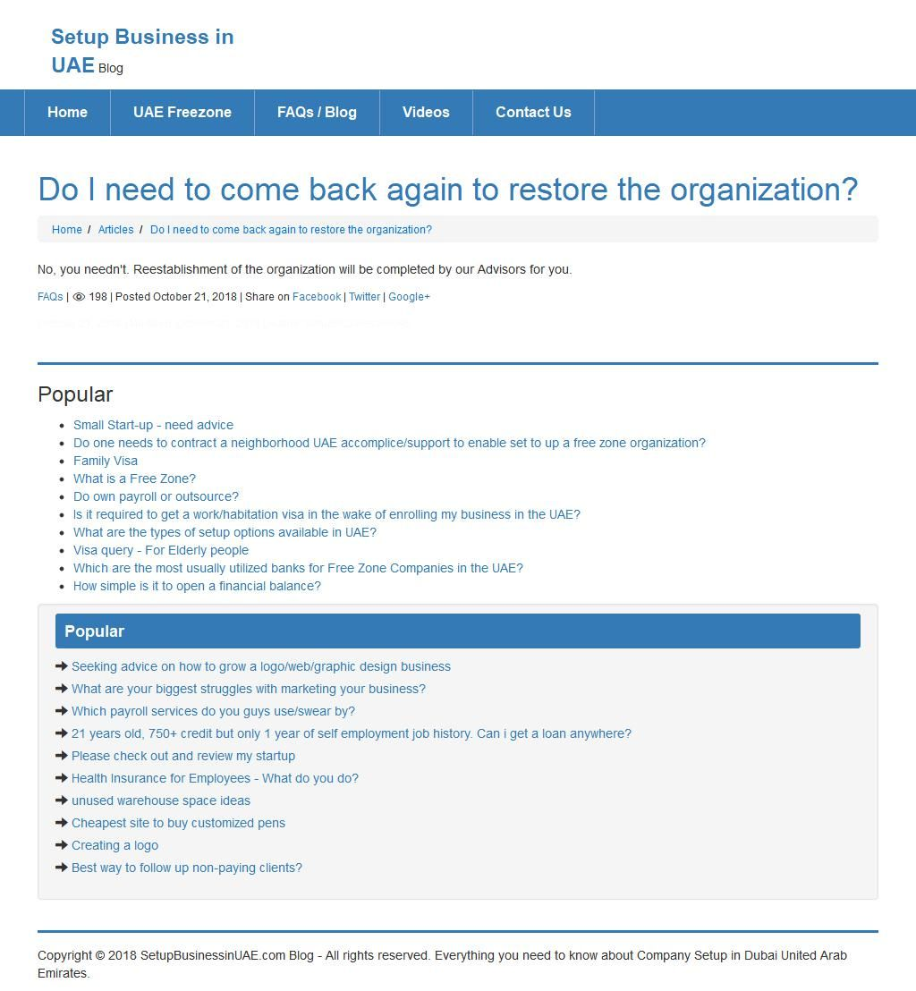 Do I need to come back again to restore the organization