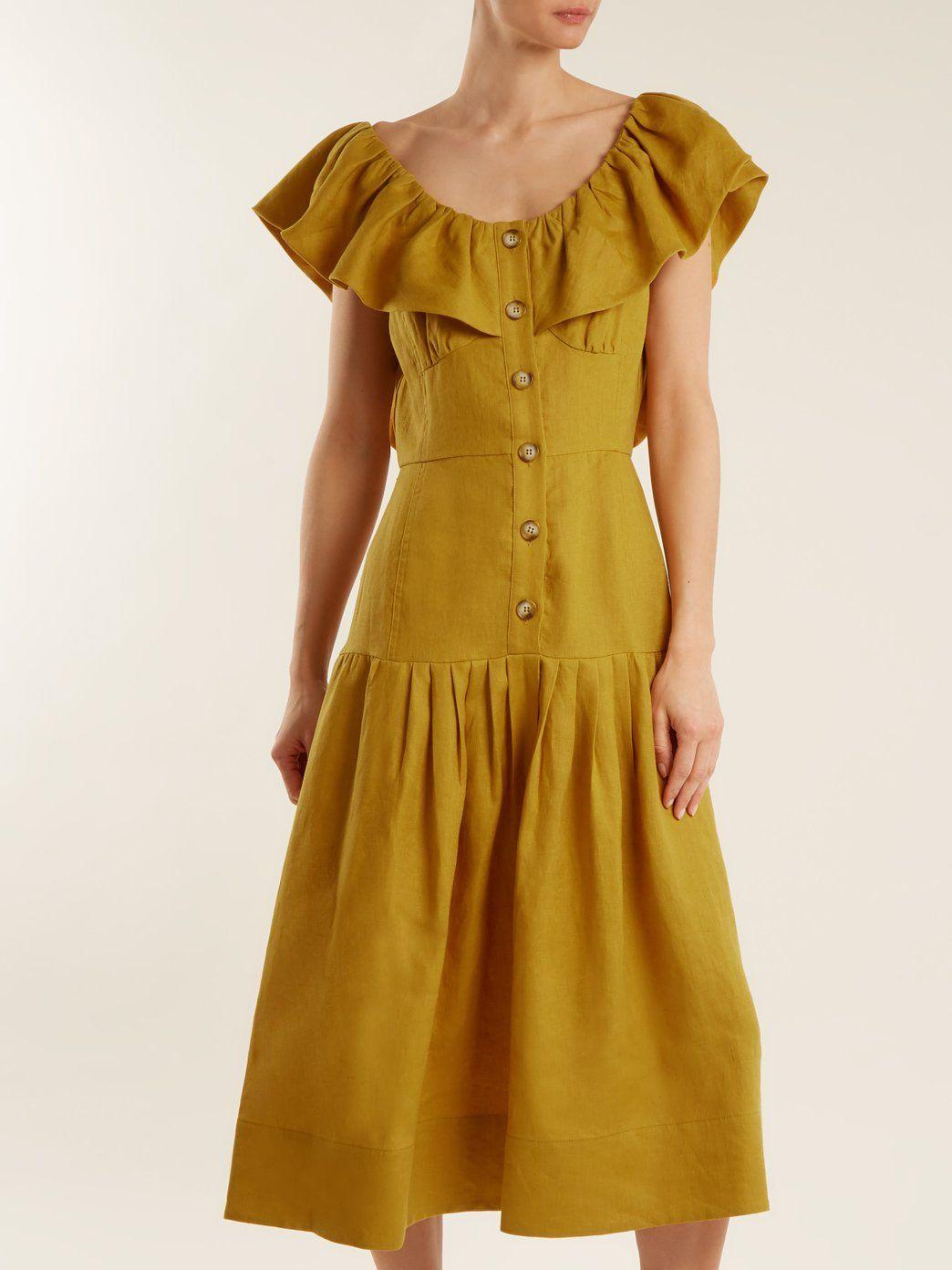 Goldie Dropped Waist Ruffled Neck Linen Dress Sea Matchesfashion Us Dropwaist Dress Ruffle Neck Dress Linen Dress