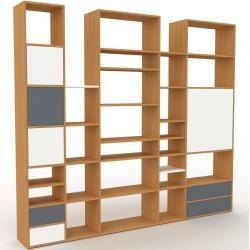 Photo of Wohnwand Eiche – Individuelle Designer-Regalwand: Schubladen in Anthrazit & Türen in Weiß – Hochwert