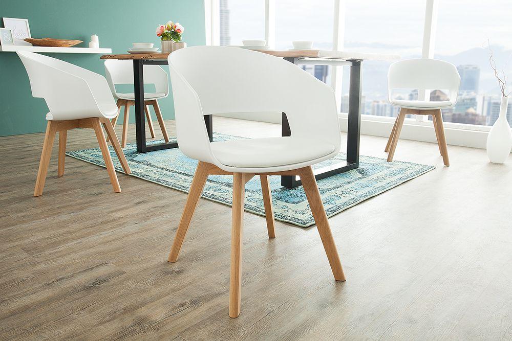 Design Stuhl Nordic Star Weiss Mit Beinen Aus Eiche Scandinavian