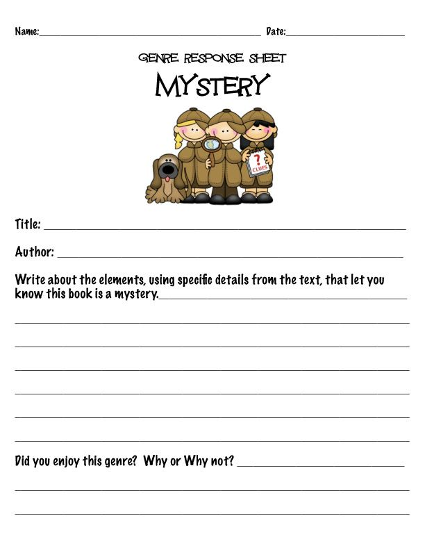 Mystery Genre Intro And Activity For 2nd 3rd Grade From Atbot The Book Bug Mystery Genre Genre Activities Mystery Writing
