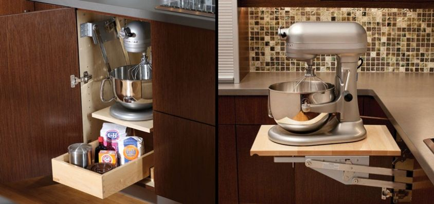 Appliance Pop-up Mixer Cabinet - Holiday Kitchen Baking Center ...
