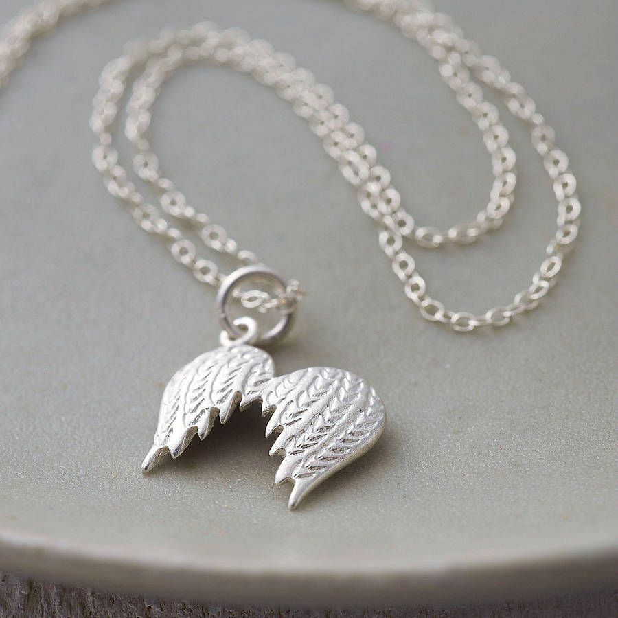 cz wing image angel silver necklace double nomination