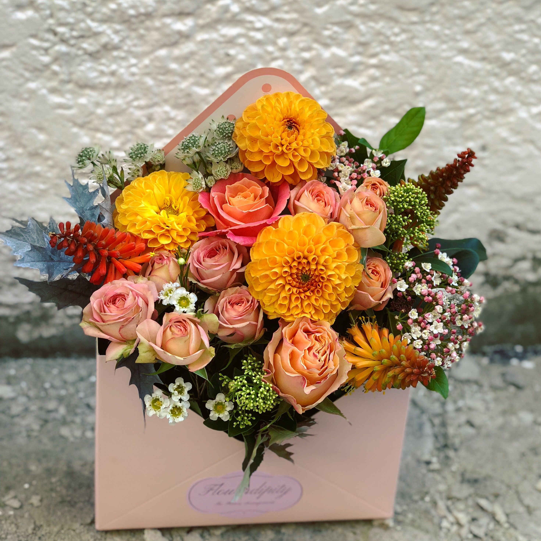 Autumn Letter Orange Dahlia Roses Autumn Flowers Colors Envelope Mail Box Flowerdipity Flower Design Fancy Party Ideas Floral Wreath Flowers
