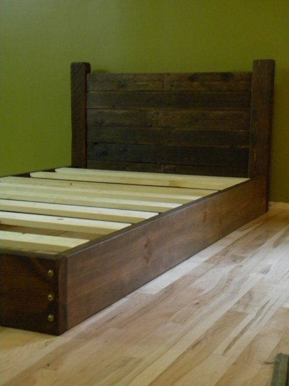 Platform Bed Twin Low Profile Frame Headboard Reclaimed Wood On Etsy 450 00