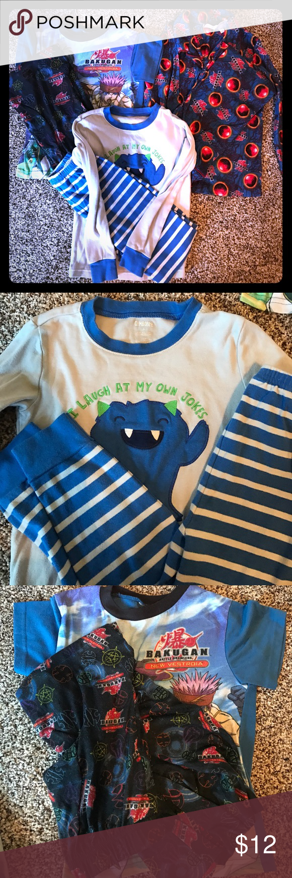 Boys pajama bundle 3 pair of boys pajamas.  2 long sleeve and 1 short.  The short sleeve pair has the tag cut out, but they are a size 8 like the other two.      Bundle and save! Pajamas Pajama Sets