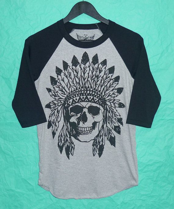 3c81bec1 Crew neck baseball Shirt Indian skull raglan tees raglan teen women teen  man punk rock shirt skull punk tshirt long sleeve fashion shirt by  BlackTeenFashion
