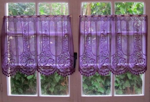 Aubergine Lace Cafe Curtain, One Panel Purple Kitchen Curtain, French Lace  Curtain, Country Cottage Decor