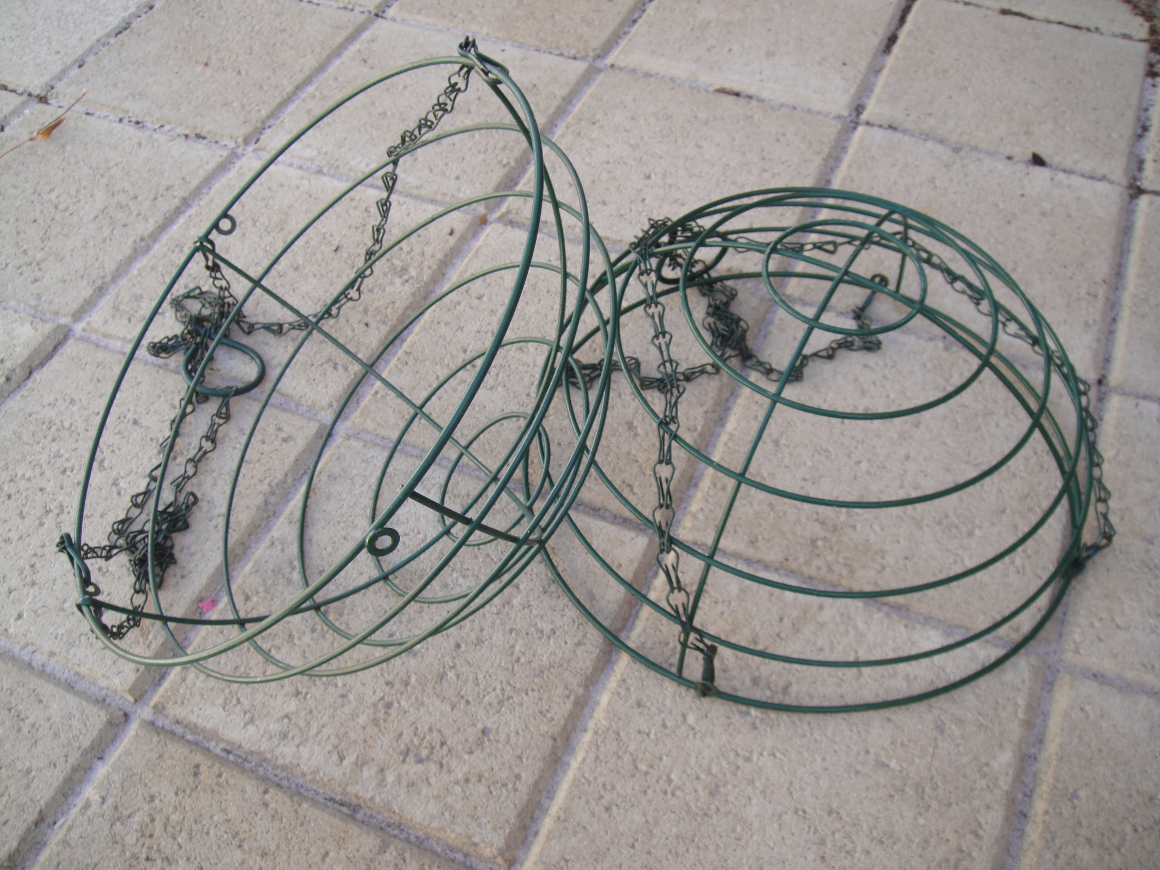 turning two old wire hanging baskets into an outdoor globe ...