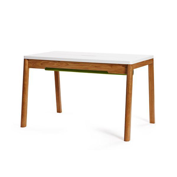 Großer Schreibtisch in weiß & Eiche. Skandinavisches Design. Mit ...