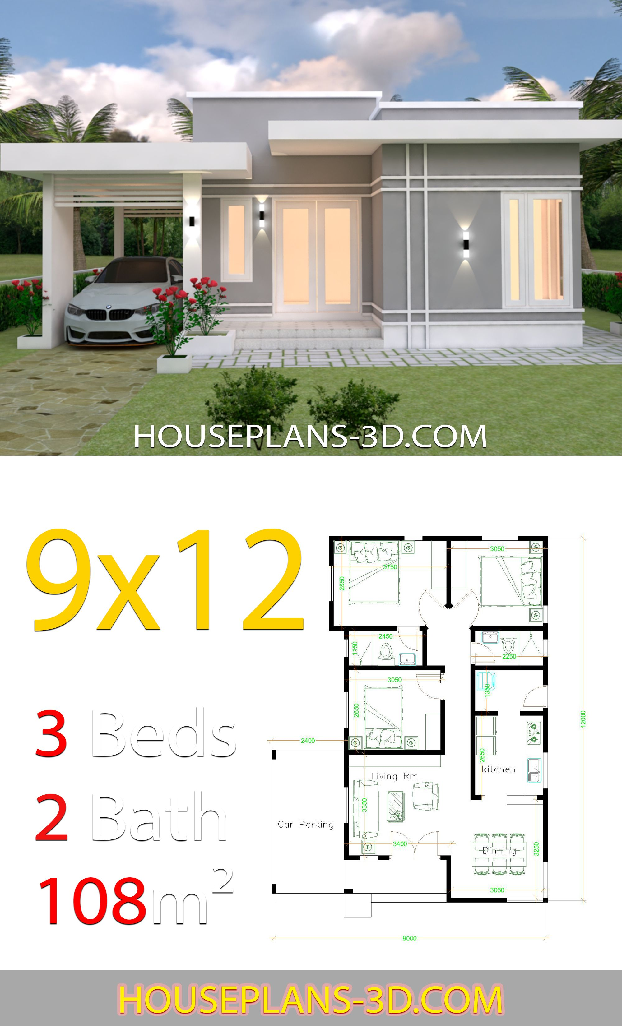 House Design Plans 9x12 With 3 Bedrooms Terrace Roof House Plans 3d Affordable House Plans Diy House Plans House Construction Plan