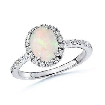 Angara Opal Ring with Diamond Halo in White Gold - October Birthstone Ring Rvtv2Gf
