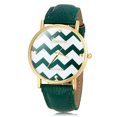 Vague Motif de la femme d'or Case PU bande de montre bracelet à quartz (couleurs assorties) – EUR € 6.11