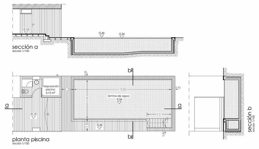 Planta y secciones de la piscina es importante partir de for Detalles constructivos de piscinas