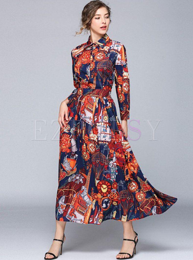 Vintage Print Turn Down Collar Big Hem Maxi Dress Vintage Maxi Dress Vintage Skirt Maxi Dress [ 1066 x 789 Pixel ]
