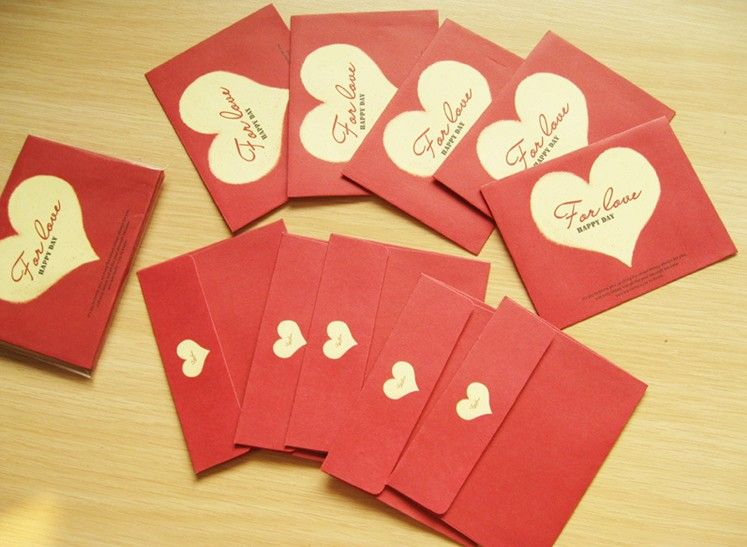 10pcslot Mini Romantic Red Heart Envelope Sweet Love Postcard