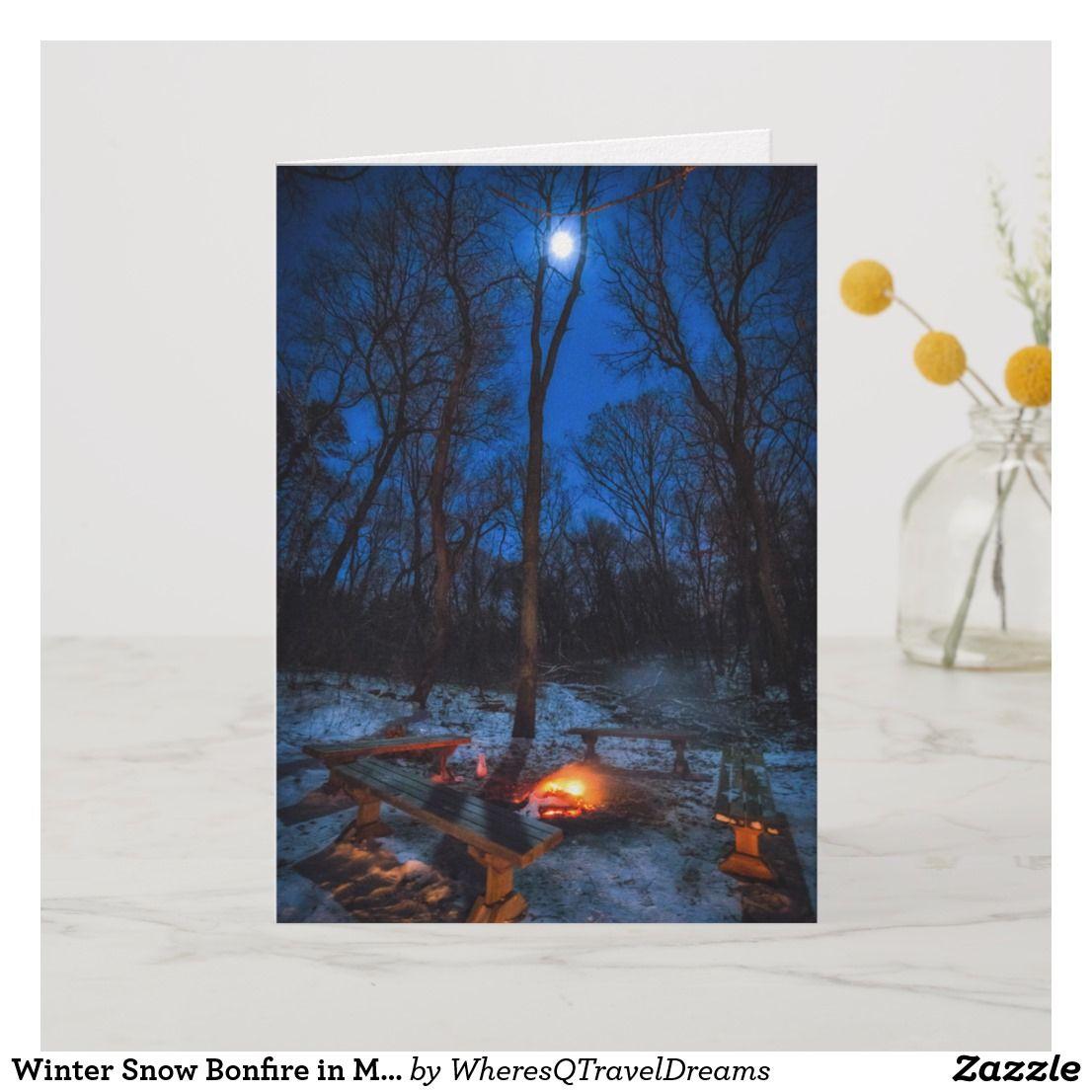 Photo of Hoguera de la nieve del invierno en Minnesota – tarjeta de felicitación |  Zazzle.com