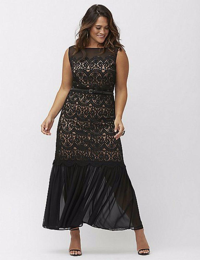 LELA ROSE Lane Bryant Chiffon Lace Long Dress 28 Maxi Gown Black Nude Sleeveless LELAROSEForLaneBryant