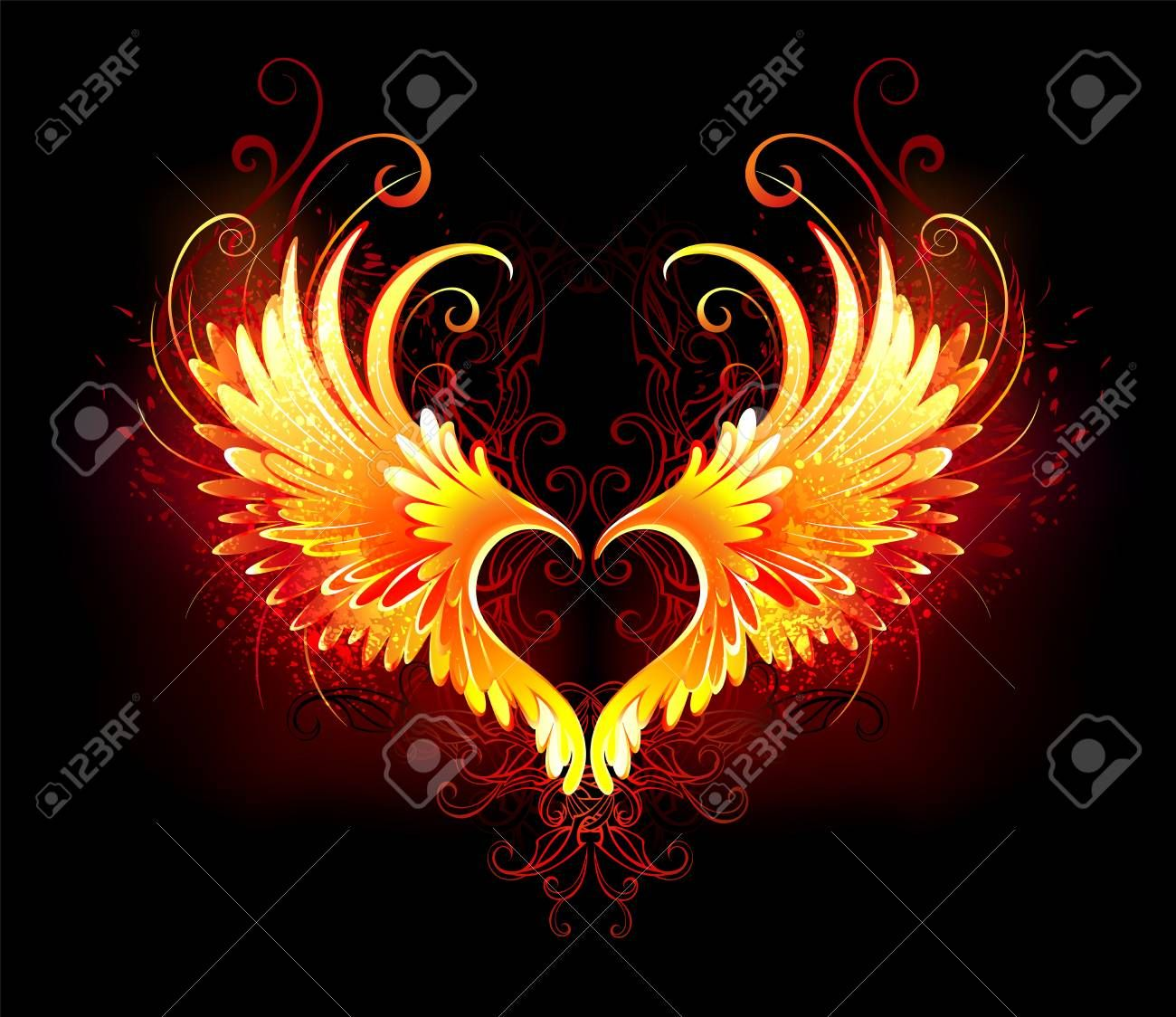 Angel Fire Heart With Flaming Wings On Black Background Illustration Aff Heart Flaming Angel Fire Background Fire Heart Heart With Wings Fire Art