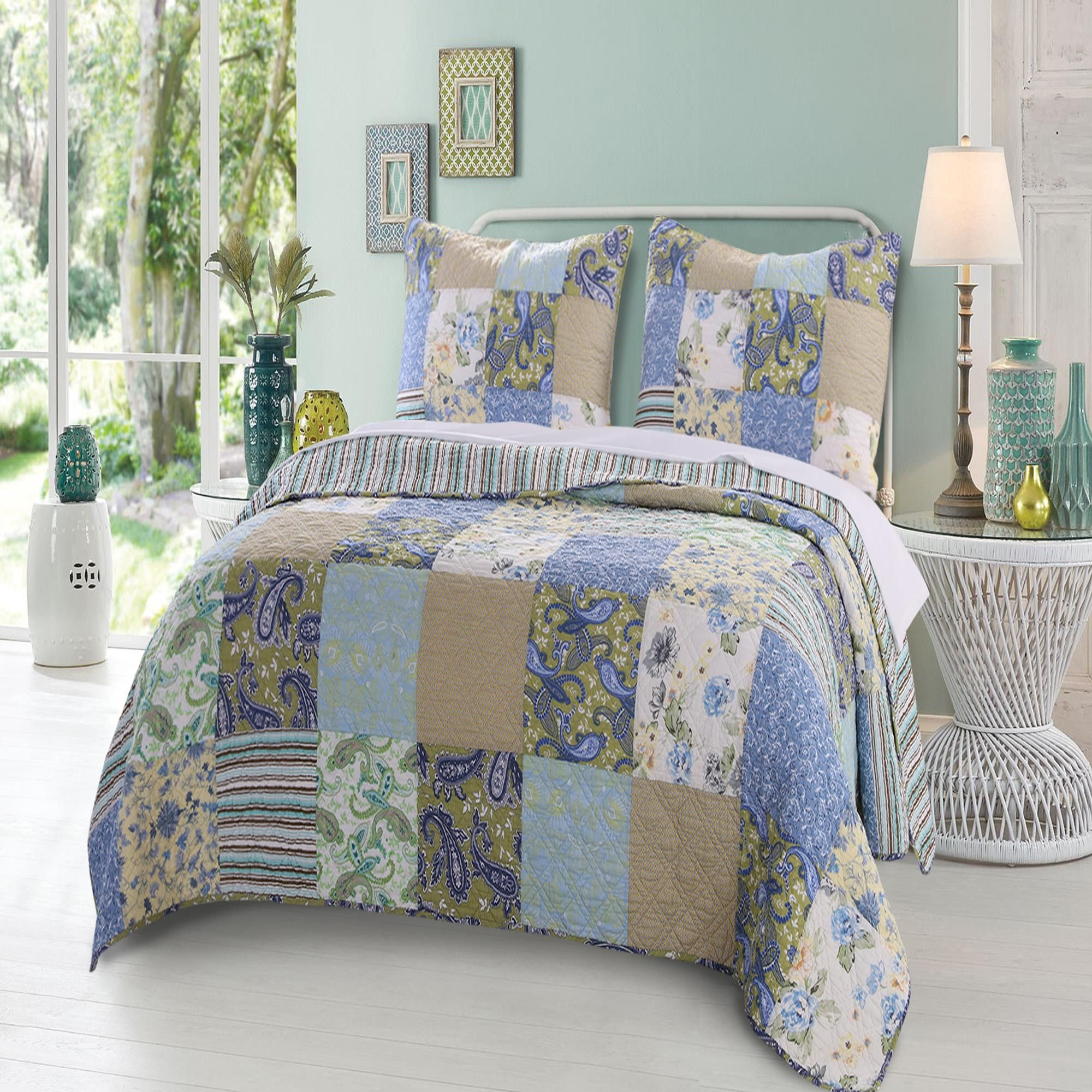 quilt queen comforter set views more teal buy paislette furniture ashley b