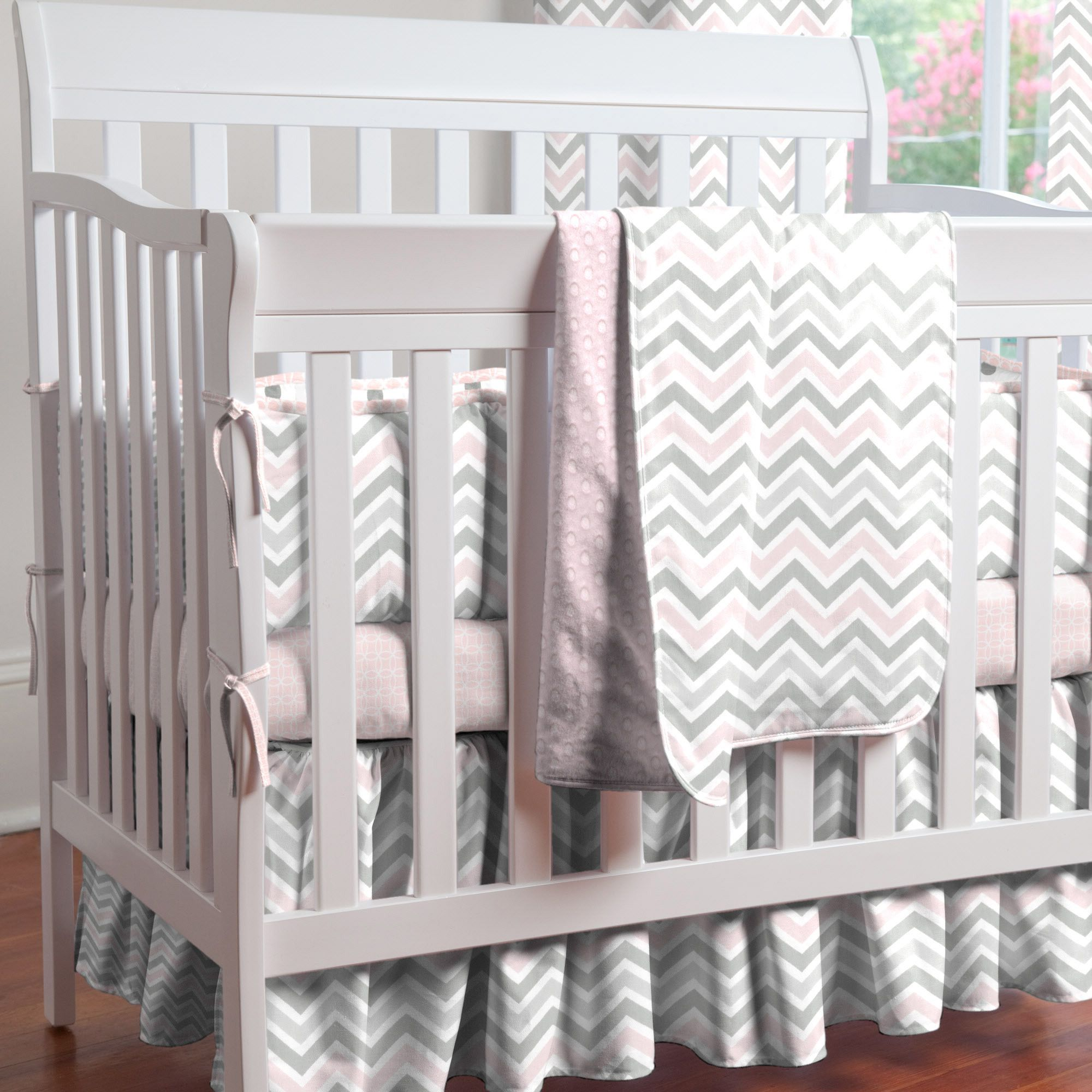 Mini Crib Bedding Sets For Girl.Pink And Gray Chevron Mini Crib Bedding Baby Girl Mini