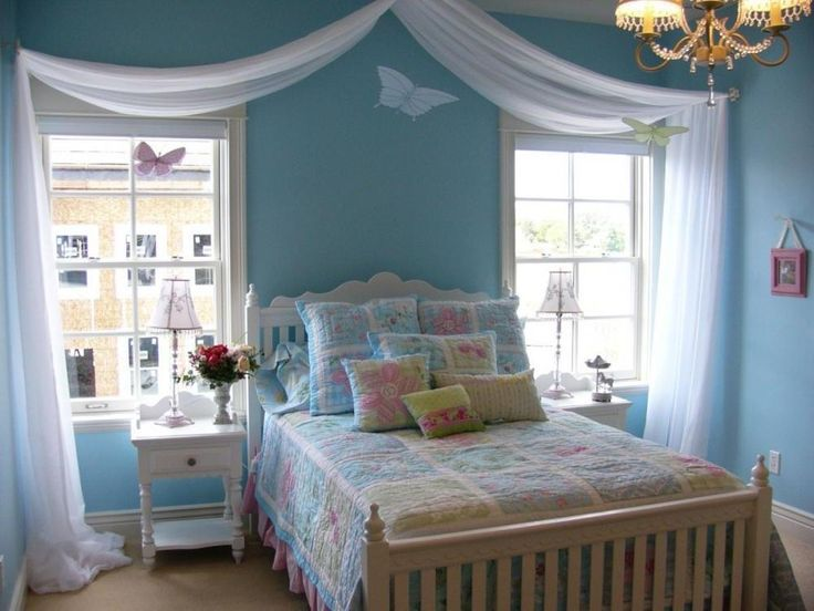 Bedroom Kids Bedroom Decorating Ideas With Teal Wall And Classic White Bed Frame Featuring Classy
