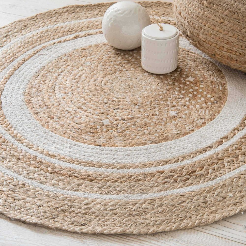 tapis rond en coton blanc et jute tapis rond coton blanc et tapis. Black Bedroom Furniture Sets. Home Design Ideas