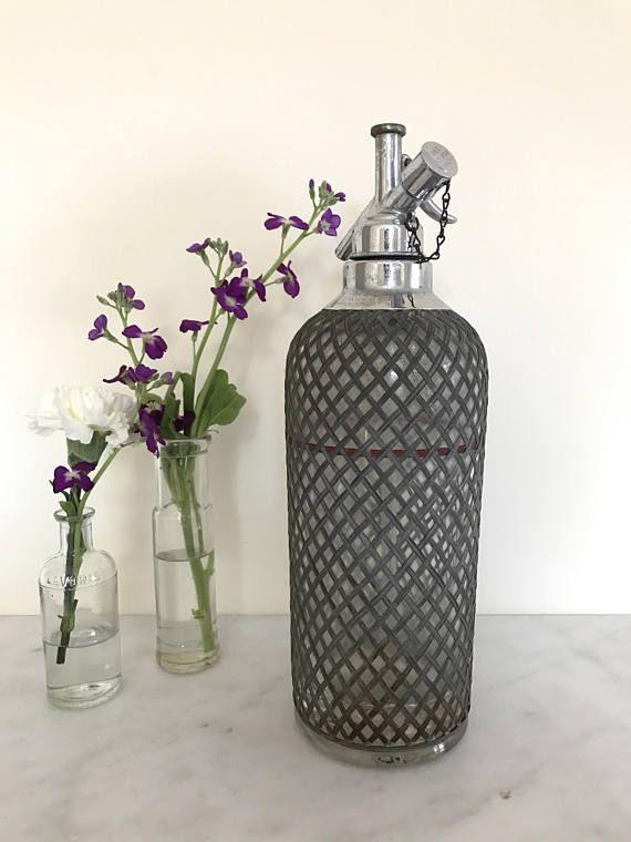 Vintage European Seltzer Bottle / Large Glass Seltzer Bottle Czechoslovakia wire mesh industrial bottle