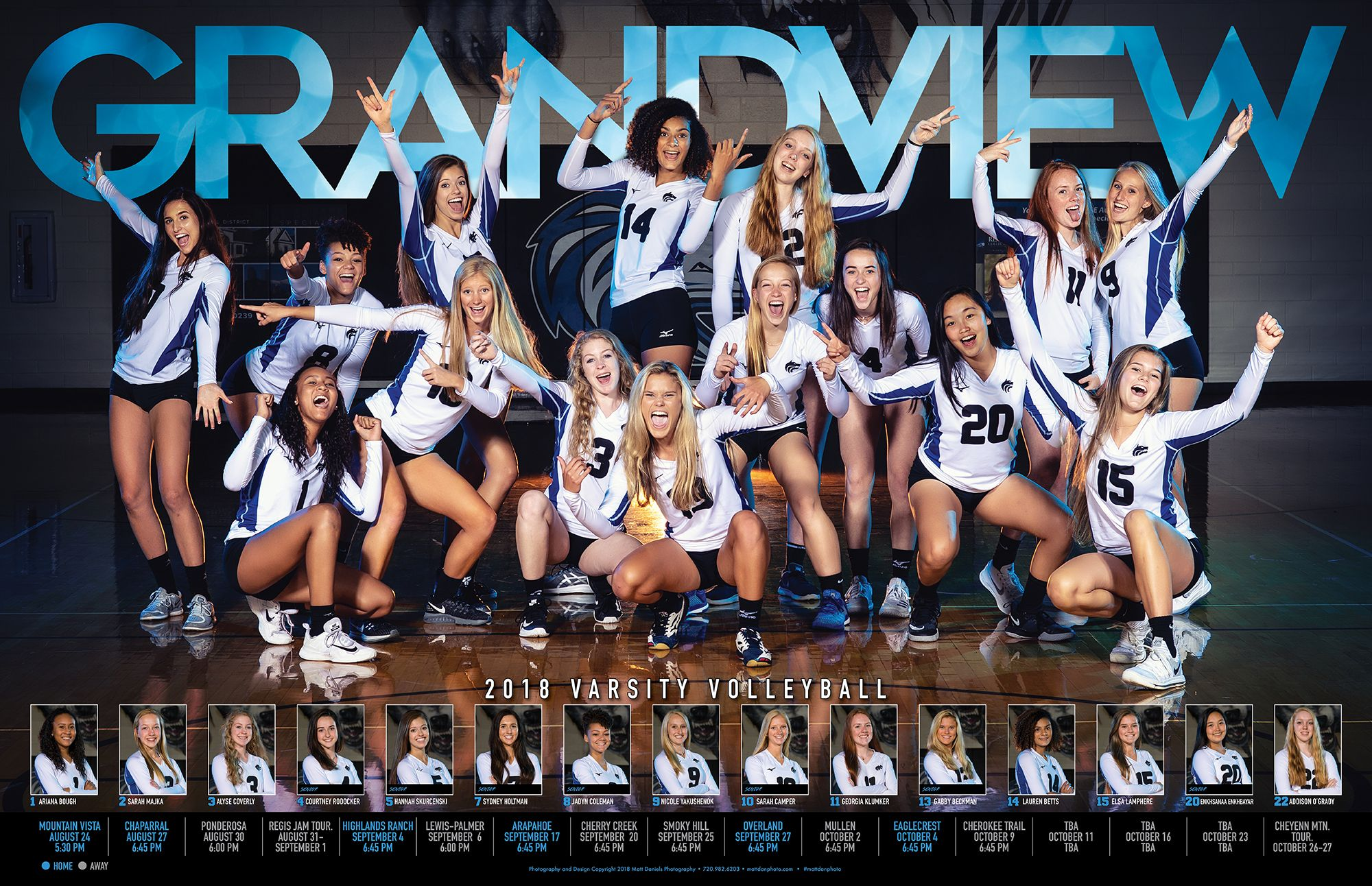 Team Poster For The 2018 Grandview Volleyball Team Copyright 2018 Matt Daniels Photography Sport Poster Basketball Team Pictures Volleyball Photos