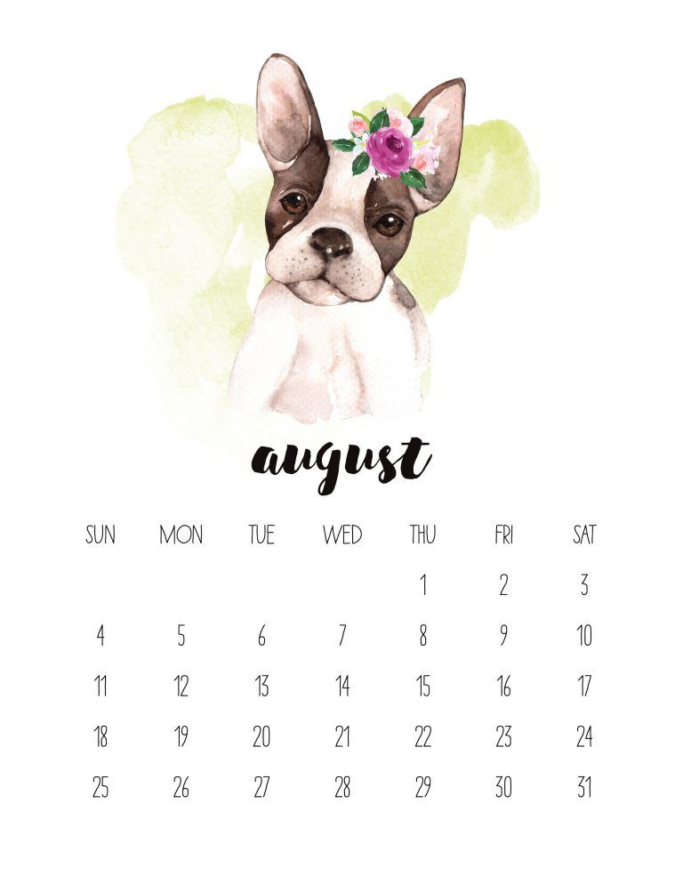 Free Printable 2019 Watercolor Animal Calendar August Calendar