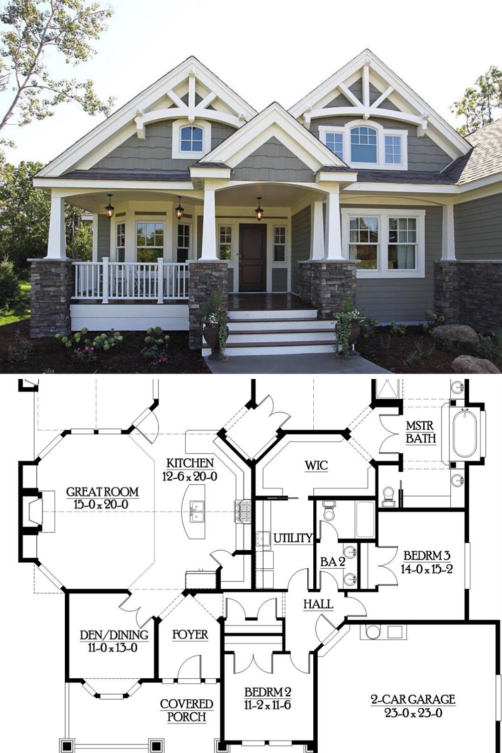 3 Bedroom Single Story Craftsman Style Home Floor Plan In 2020 Craftsman Style House Plans Craftsman House Plans Family House Plans