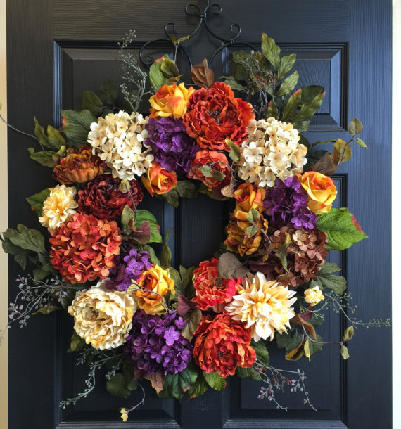Items similar to fall wreath 30'' fall wreaths Holiday wreath Thanksgiving wreaths front door wreaths yellow summer wreaths ideas on Etsy