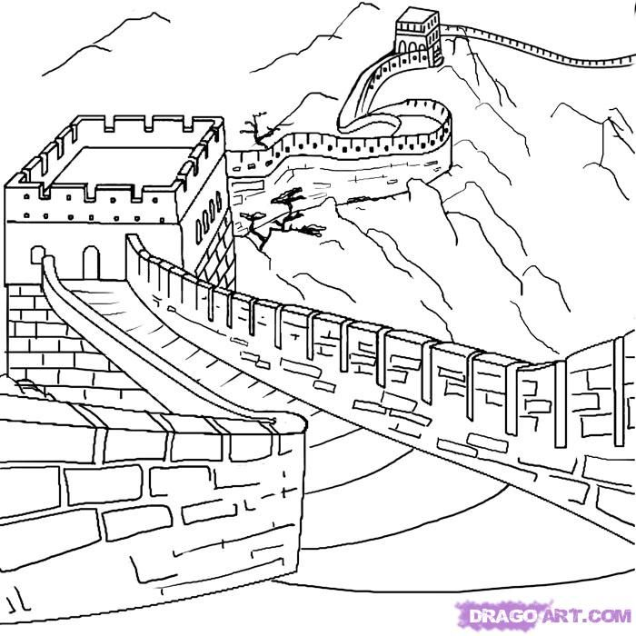 How To Draw The Great Wall Of China Step 6 Great Wall Of China Easy Drawings Drawings
