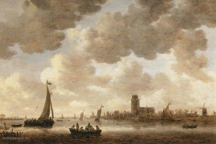 Jan van Goyen - De afbeelding hierboven toont het schilderij De Maas bij Dordrecht met de Groote Kerk door. Het kunstwerk is geschilderd in 1647.