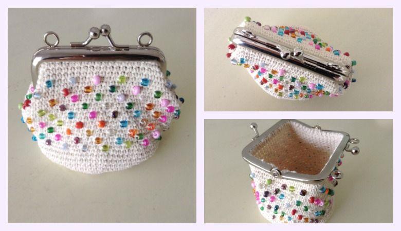 como hacer un monedero a crochet con boquilla y con inclusión de cuentas