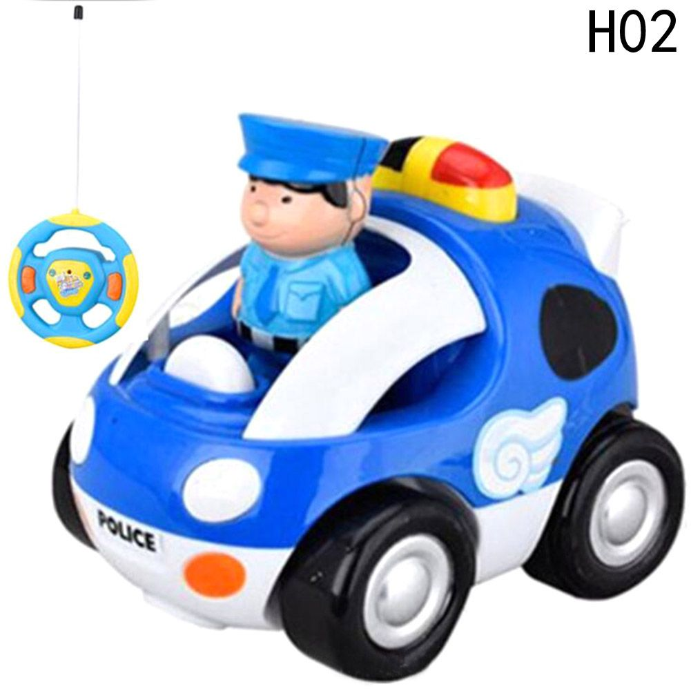 Children Electric Toy Car Cartoon Remote Control Wrestling Music Wireless Steering Wheel Police Racing